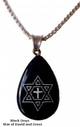 Onyx Cross and Star of David Tear Drop/Silver