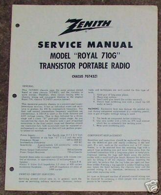 Zenith Service Manual Model Royal 710G Radio Vintage