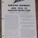 Zenith Service Manual Model Royal 100 Radio Vintage