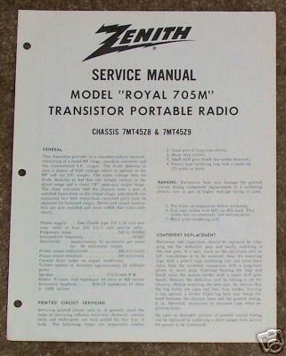 Zenith Service Manual Model Royal 705M Radio Vintage
