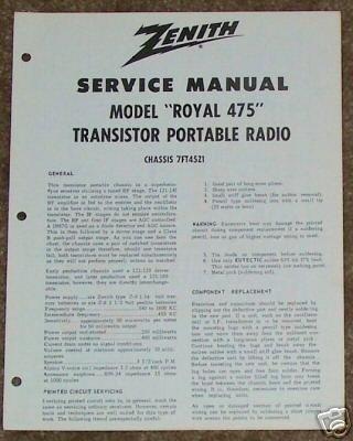 Zenith Service Manual Model Royal 475 Radio Vintage