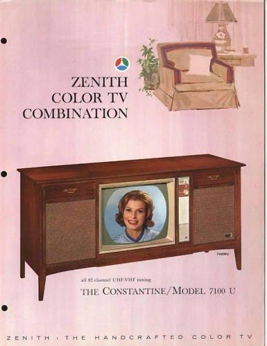 Vintage 1965 Zenith Color TV advertisement Model 7100WU