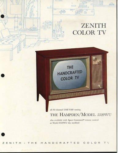 Vintage 1965 Zenith Color TV advertisement Model 5529WU
