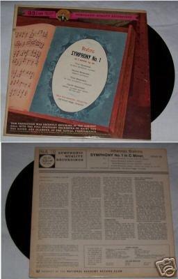 Brahms Symphony No 1 in C Minor Music Album LP 33