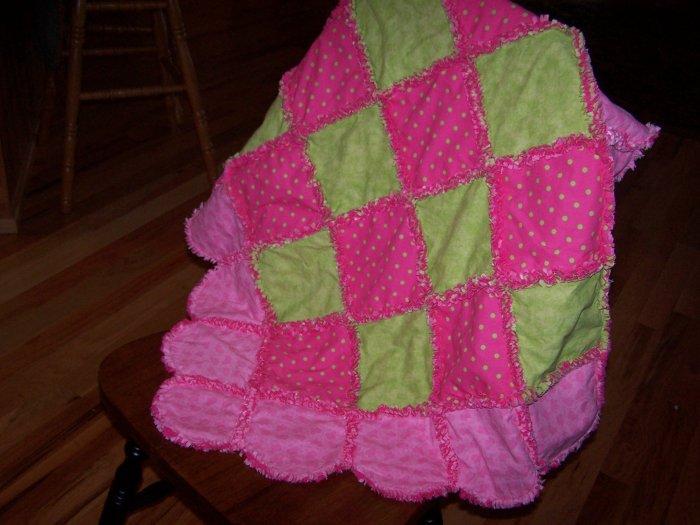 Scalloped Baby Girl Rag Quilt