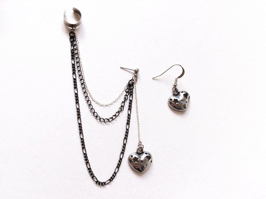 Gray Heart Cuff Earrings