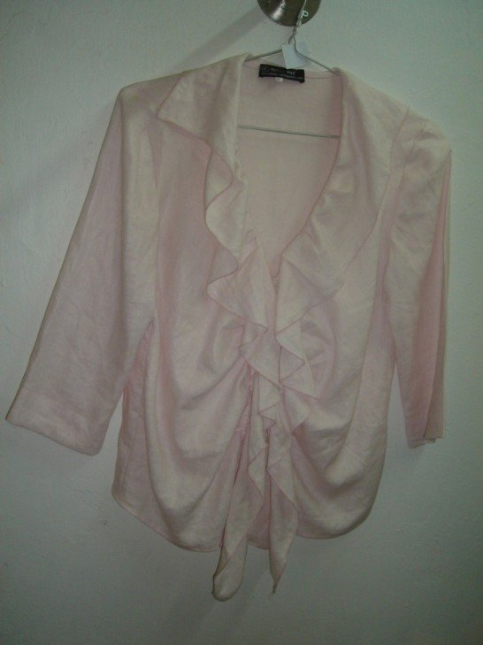 Light pink ruffled linen blouse