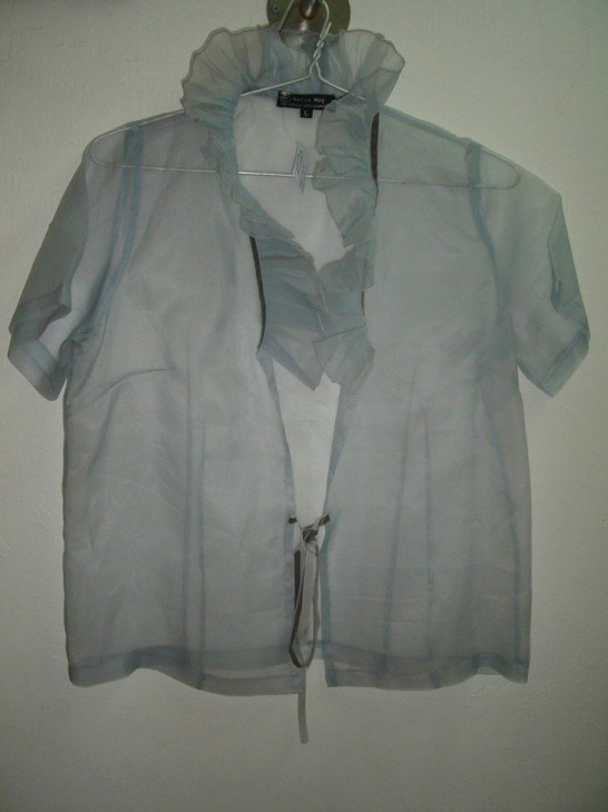 Light grey pleated blouse