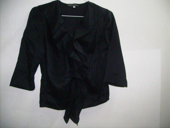 Black ruffled linen blouse