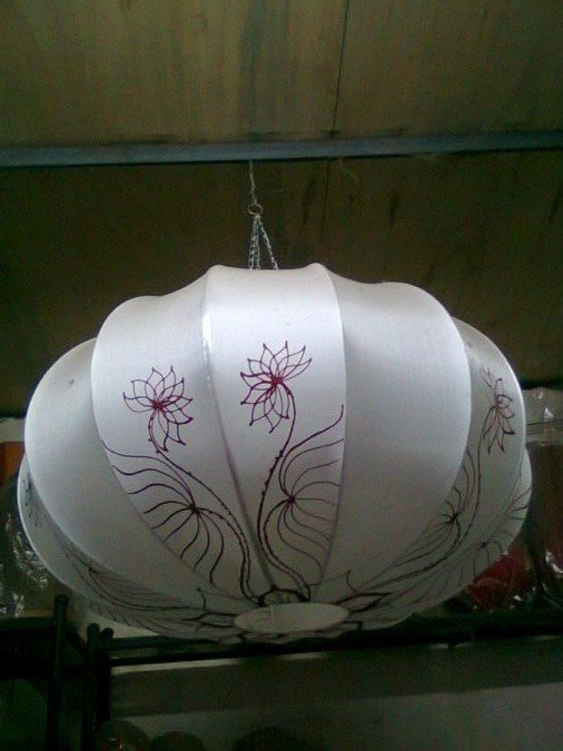 Silk lamp with hand drawing