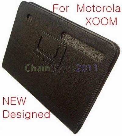 New Designed Black Leather Case Cover Skin for Motolora XOOM