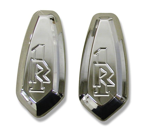 "YAMAHA R1 (98-04) CHROME PLATED MIRROR PLATES ENGRAVED ""R1"" (PART # CA2949)"