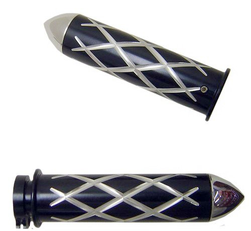 HONDA ANODIZED BLACK STRAIGHT GRIPS WITH CRISS CROSS DESIGN & POINTED ENDS