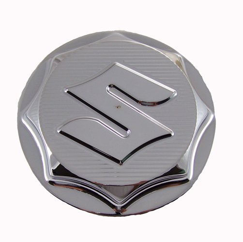 "SUZUKI CHROME GAS CAP ENGRAVED ""S"" (4 BOLT BRACKETPART # CA3164)"