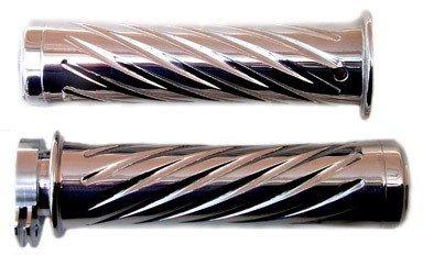 HONDA CHROMED STRAIGHT GRIPS WITH SWIRLED DESIGN & FLAT ENDS