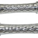 SUZUKI M109 POLISHED DIAMOND CUT GRIPS, CRISS CROSS DESIGN CURVED WITH FLAT ENDS (PART # A4066F)