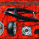 Black Powder Coated 240 Wide Tire Kit with chrome Replica Wheel