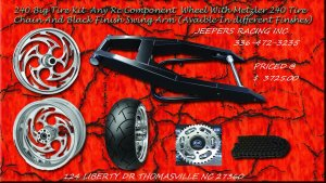 Black Powder Coated 240 Wide Tire Kit with Rc chrome Wheel