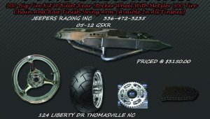 300 Wide Tire Kits with GSXR Replica Wheel & Raw Swing Arm