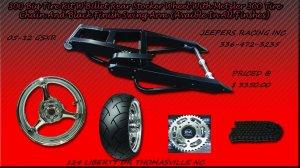 Black Powder Coated 300 Wide Tire Kits with GSXR Replica Wheel
