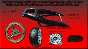 Black Powder Coated 240 Wide Tire Kit with GSXR Replica Wheel