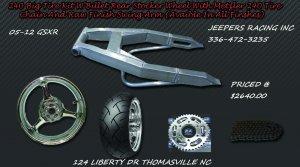 05-13 GSXR 240 Wide Tire Kit Replica Wheel & Raw Swing Arm