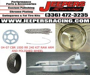 04-07 cbr 1000 rr raw finish 240 kit with replica wheel