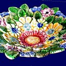 "GENSINI (ITALY) 11-1/2"" MULTICOLOR LEAVES AND FLOWERS SERVING DISH"