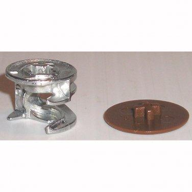 15mm x 12mm Cam Lock Fasteners & Brown Cover Caps (10 Pk) Furniture Connectors Disc