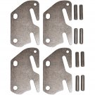 """Wood Bed Rail Double Hook Plate Replacement End & Pins - 4 Pack For 2"""" Center Bracket / Bed Post"""