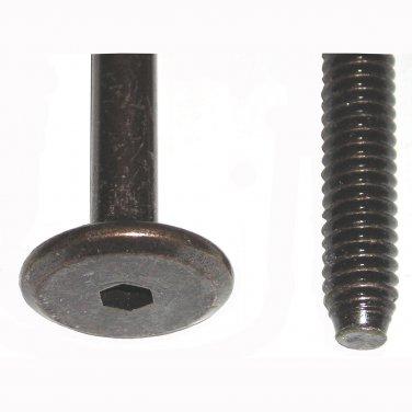 """1/4"""" - 20 TPI x 80mm Dark Bronze Hex Drive Flat Pancake Head Furniture Screw Bolt 3-9/64"""" 4 Pack"""