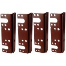 "Headboard / Bed Post Bracket For Double Hook Bed Plate and Rails 6"" x 1-3/4"" (4 Pack)"