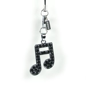 New Color Jewels Luxury Black Musical Note Cell Phone Charm Strap Camera iPod iPhone iPad MP3