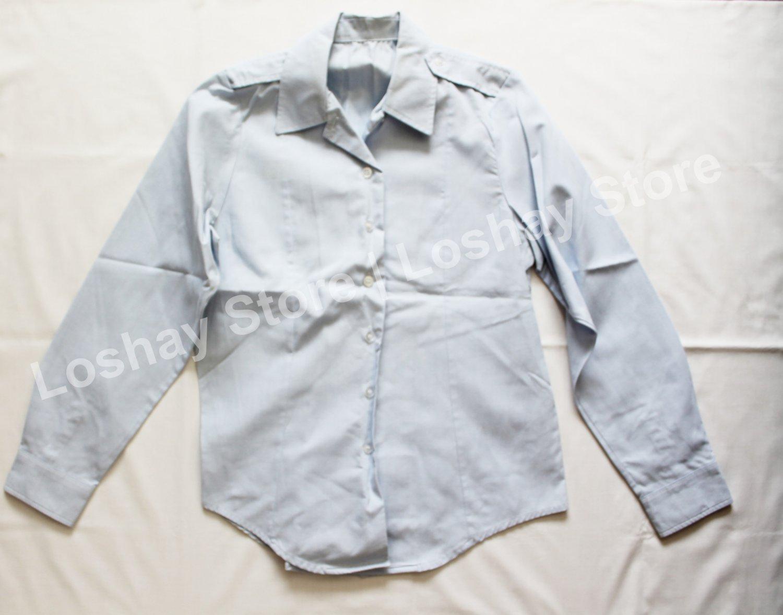 Military Air Force SHIRT WOMEN'S TUCK-IN Service Dress Blues Shirt Top Button Up Long Sleeve Collar