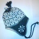 Grey Snowflake Ski Snowboard Knit Earflap Beanie Cap