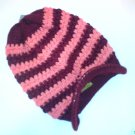 Brown / Red Ski Snowboard Knit Striped Visor Beanie Cap