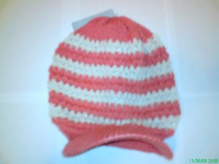 White / Red Ski Snowboard Knit Striped Visor Beanie Cap