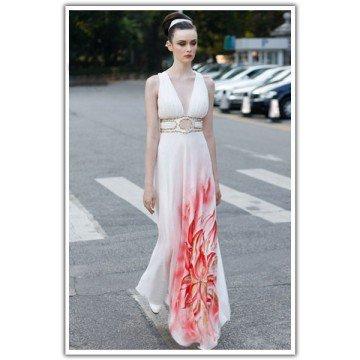 A-line V Neck Floor-length Sleeveless Silk Dress