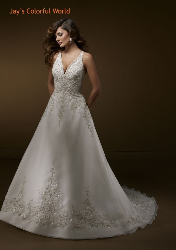 Deep V Neckline with embroidery and Beads Wedding Dress Bridal Gown