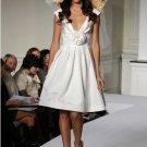 Tea-Length Deep V Neckline Custom Made Wedding Dress Bridal Gown Evening Dress