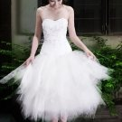 2011 New Design Tea-Length Sweetheart Neckline Custom Made Wedding Dress Bridal Gown Evening Dress