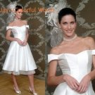 Tea-Length Off-shoulder Custom Made Wedding Dress Bridal Gown Evening Dress