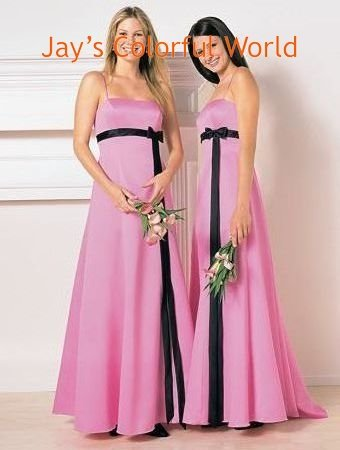 Pink  A-line Spaghetti Strap Chiffon Bridesmaid Dress