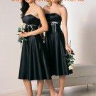Black Short Strapless Bridesmaid Dress Evening Dress