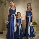 Blue Spaghetti Strap V-neckline Taffeta Bridesmaid Dress/Evening Dress/Home Coming