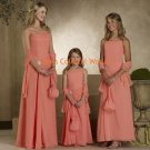 Orange Spaghetti Strap Floor Length Bridesmaid Dress/Evening Dress/Home Coming
