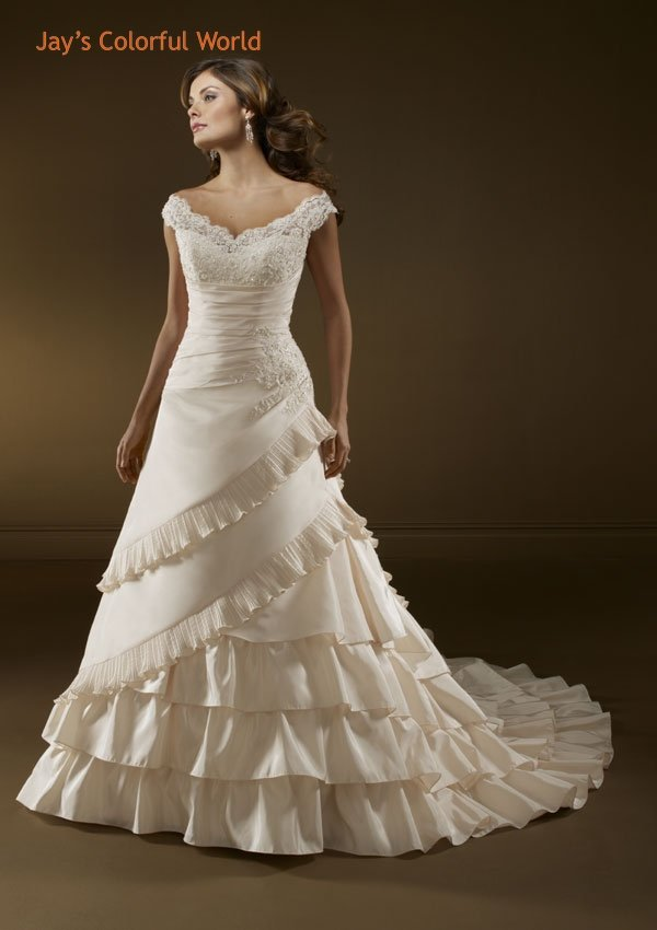 Ivory V Neckline Appliques Beading Wedding Dress Bridal Gown