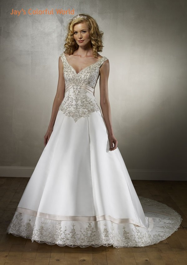 A-line Deep V Neckline Embroidery Beading Train Wedding Dress Bridal Gown
