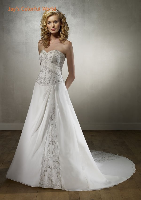 A-line Sweetheart Neckline Embroidery Beading Train Chiffon Wedding Dress Bridal Gown