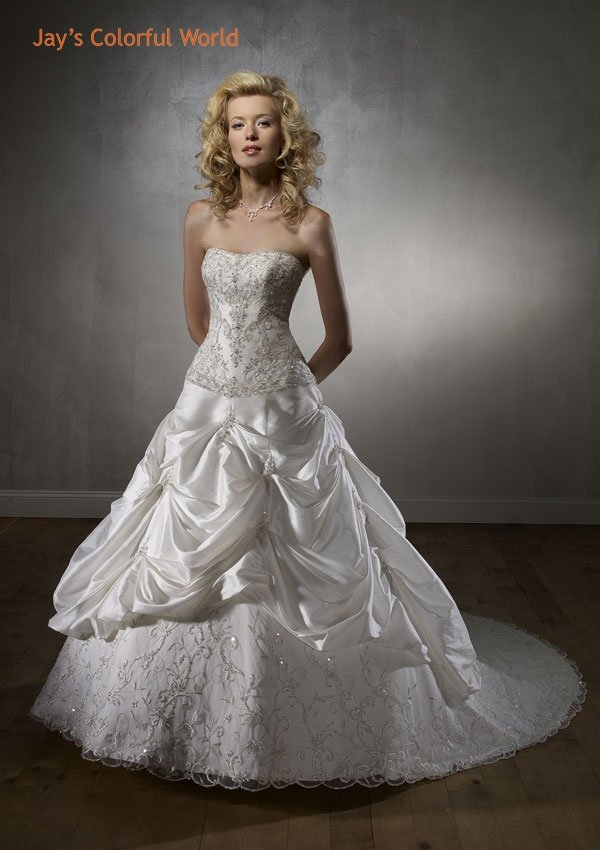 Mori lee Strapless Embroidery Beading Organza Train Wedding Dress Bridal Gown